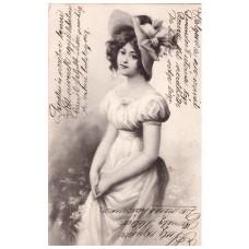 Fiatal lányt ábrázoló képeslap