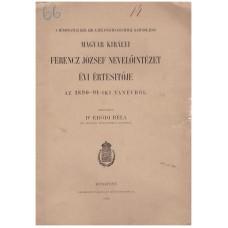 Magyar Királyi Ferencz József Nevelőintézet évi értesítője