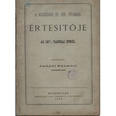 Parádi Kálmán (szerk.): A Kolozsvári Ev. Ref. főtanoda értesítője