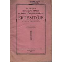 Az Erdélyi Róm. Kath. Státus Brassói Főgimnáziumának Értesítője